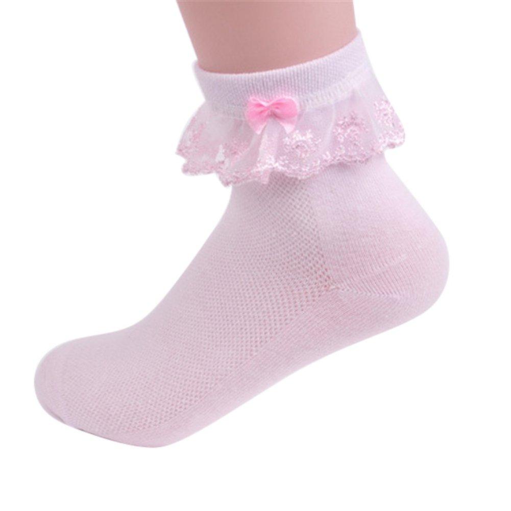 I calzini della scuola della punta senza cuciture del pizzo della ragazza del bambino ansano i bambini 3-12 anni Shiningup
