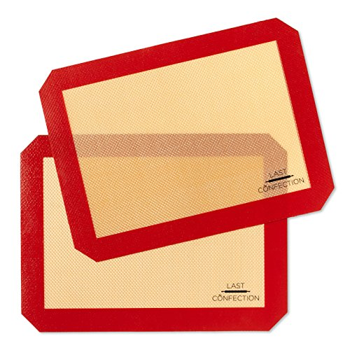 Last Confection Silicone Baking Mat - Set of 2 Non-Stick Quarter Sheet (8-1/2