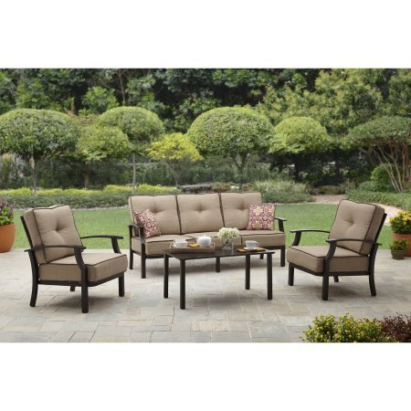 Home Garden Patio - Better Homes and Garden Carter Hills Outdoor Conversation Set, Seats 5 (Tan)