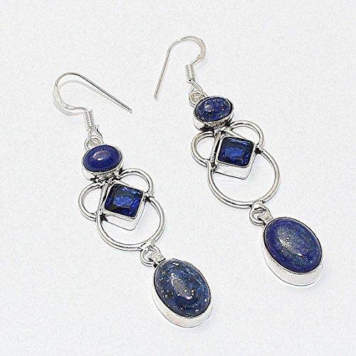 - Lapis lazuli, Blue Quartz Hydro Earring Silver Overlay Fashion Jewellery Vintage Designer Prom Bridal Jewelry Dangle Bohemian 2.50 Inch Sale