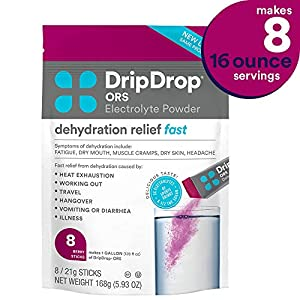 DripDrop ORS – Patented Electrolyte Powder for Dehydration Relief Fast – For Workout, Hangover, Illness, Sweating & Travel Recovery – Watermelon, Berry, Lemon Variety Pack – 12 x 16oz Servings