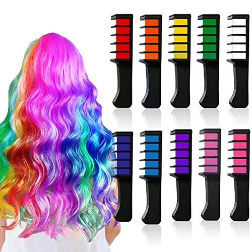 Diy Halloween Costumes For 10 Year Olds (Kyerivs Hair Chalk Comb Temporary Hair Color Dye for 6 7 8 9 10 Year Old Girl Gifts and Cosplay DIY Festival Party Dress up Birthday New Year Christmas Gift)