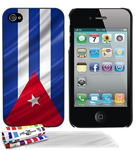 Ultraflache weiche Schutzhülle APPLE IPHONE 4S [Kuba Flagge] [Schwarz] von MUZZANO + 3 Display-Schutzfolien UltraClear + STIFT und MICROFASERTUCH MUZZANO® GRATIS - Das ULTIMATIVE, ELEGANTE UND LANGLEB