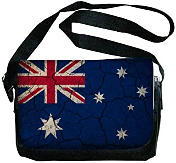 Australia Flag Crackled Design Messenger Bag