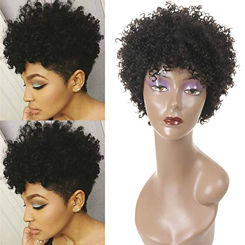 Ms Taj Short Curly Human Hair Wigs for Black Women Brazilian Virgin Afro Kinky Curly Human Hair None Lace Wig 150% Density Unprocessed Human Hair Kinky Curly Machine Made Glueless Wigs curly wigs