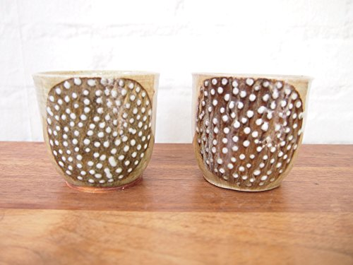 Set of 2 African Handleless Coffee Mugs or Tea Cups // Handmade Pottery in Rwanda