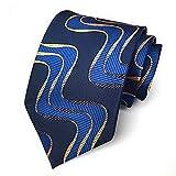 Pricing Center Geometric Navy Blue Wave JACQUARD WOVEN Men's Tie Necktie #937501