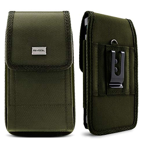 Evocel [Urban Pouch] Tactical Carrier with [Belt Loop & Holster] (6.50 in x 3.27 in x 0.37 in) fits Galaxy Note 8, S8 Plus, Galaxy Mega, iPhone 7 Plus, ZTE ZMAX XL & More, OD Green - X-Large ()