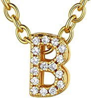 ChainsHouse CZ Initial Letter Pendant Necklace Mens Womens, 18K Gold/Platinum Plated Cubic Zirconia Personaliz
