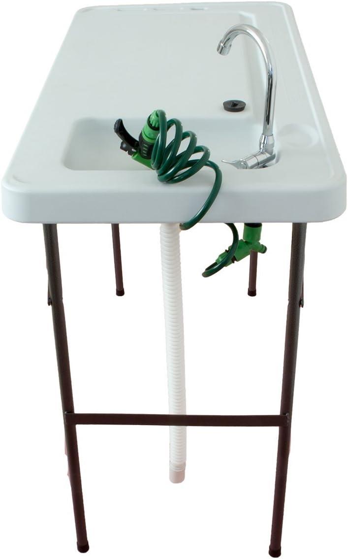 BeachandPool Campingtisch mit Sp/üle und Wasserhahn Kunststoff klappbar Waschtisch Multifunktionswaschtisch Campingsp/üle