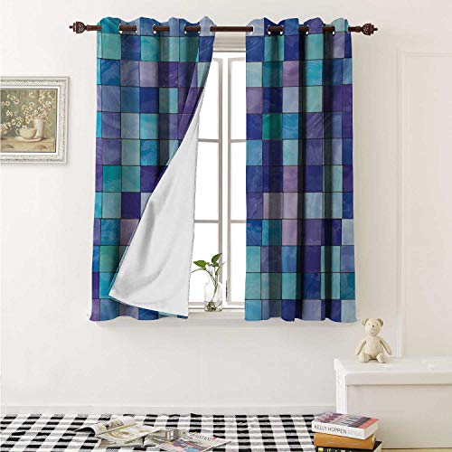 shenglv Navy and Teal Waterproof Window Curtain Stained Glass Inspired Design Checkered Pattern Dreamy Fantasy Colors Shades Curtains for Party Decoration W84 x L72 Inch Multicolor Atlanta Braves Stained Glass