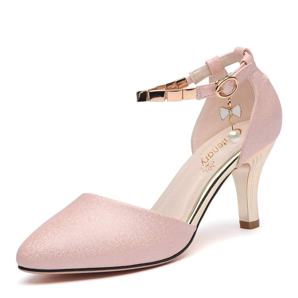 PINK Casual Sandals 2019 Summer New Pearl Inlaid Metal Buckle Female Single shoes Wine Glass with Apricot Head Women's shoes Single shoes (color   Pink, Size   37)