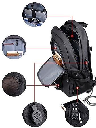 Wincy Shop basket-ball Soccer Football Sac /à dos ordinateur Sac pour ordinateur portable avec port de chargement USB Port casque Panier de basket pour homme femme