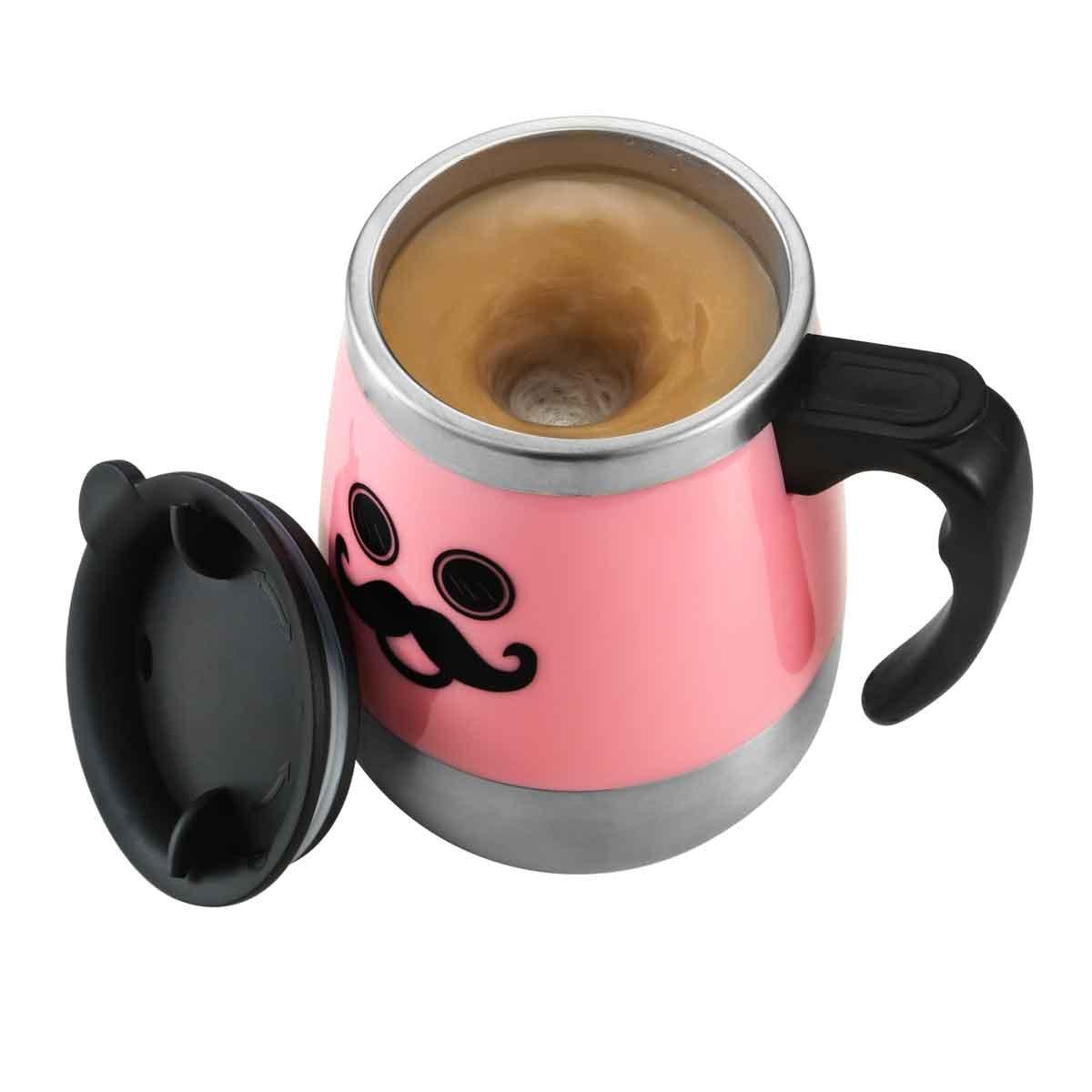 LEADNOVO Self Stirring Stainless Steel Mug 450ml/15.2oz Pink by LEADNOVO