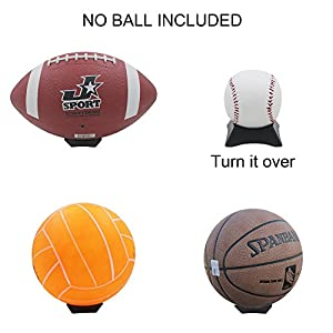 YYST Black Ball Display Stand Pedestal for Basketball Football Soccer Rugby - 4/PK No Ball included
