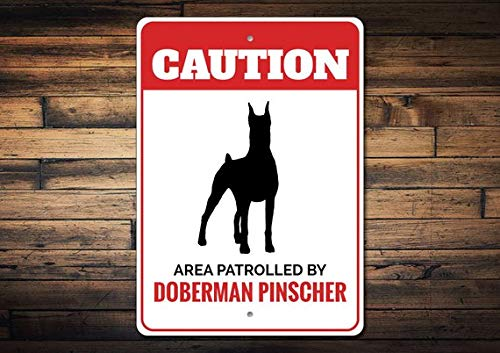 (Doberman Pinscher Sign, Doberman Pinscher Decor, Doberman Pinscher Gift, Dog Owner Gift, Caution Dog Sign, Dog Gift,Metal Aluminum Sign, 8