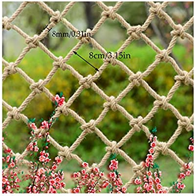 Childrens Outdoor Railing Safety Net Staircase Anti-Fall Net Decoration Net Protective Net Hemp Rope Child Safety Net Retro Bar Ceiling Net Hanging Clothes Net Climbing Net Rope Size : 1x4m