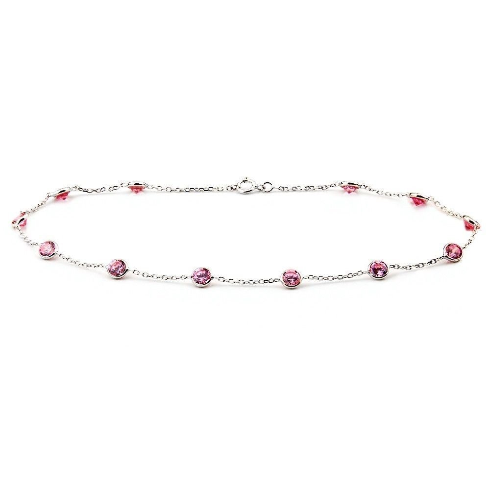 14k White Gold Anklet Bracelet With 4mm Pink Round Shaped Cubic Zirconia (9 - 11 Inches)