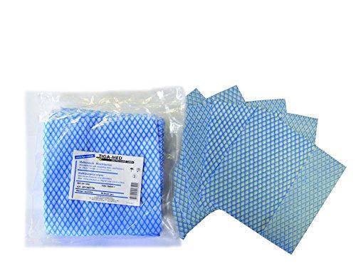 Wischtücher Mehrzwecktücher 500 (5x100) Stück Einmal Allzwecktücher blau/weiss Vlies 33x34cm Putztücher saugfähig Original Tiga-Med