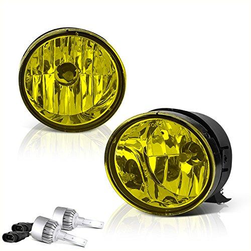 [Built-In LED Bulbs] VIPMOTOZ For 2004-2015 Nissan Titan Fog Lights - [Factory Style] - Metallic Chrome Housing, Yellow Lens, Driver and Passenger Side -