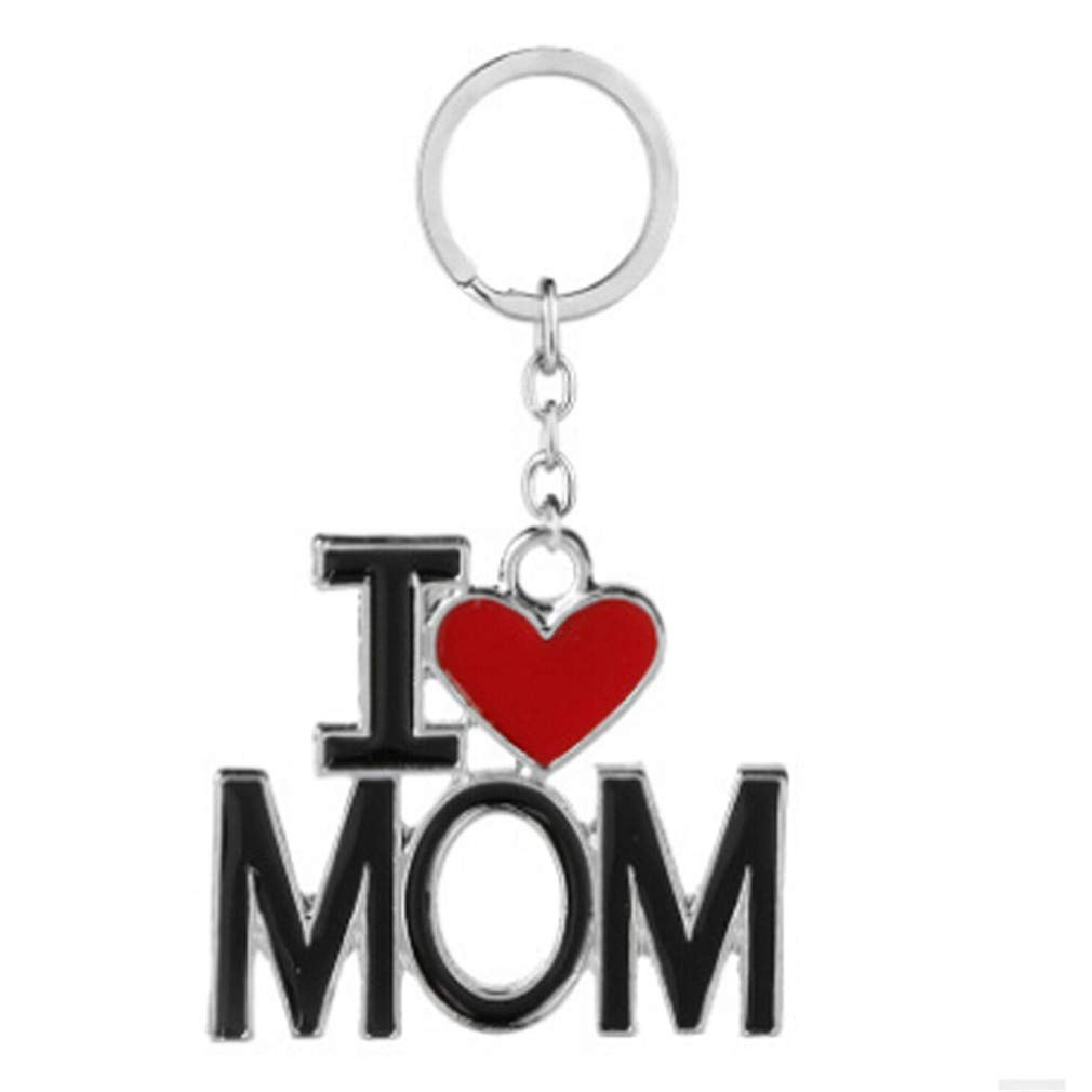 MOONQING Love Heart Keychain Creative Letter Keychain Simple Style Key Chain Father's Day/Mother's Day Keychain,1#