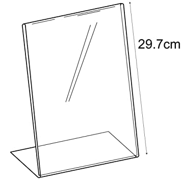 Acrylic A6 Angle Landscape Sign Holder Counter//Free Standing Retail//Shop//Museum