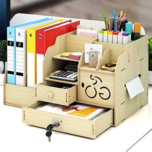 頑丈 ペンホルダーファイルボックス、木製多機能ニート、丈夫なテーブルストレージボックス、マガジンフォルダ事務所ディスプレイには、41.5 * 26 * 23.5センチメートルスタンドラック (Color : D)