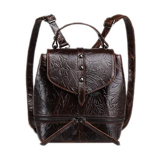 - Retro Ladies Backpack Oil Wax Genuine Leather Female Shoulder Bag Leisure Leather Embossed Backpack