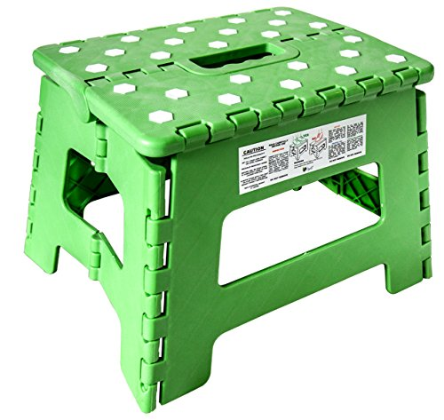 - Orgalif Heavy Duty Folding Step Stool with Anti Slip Dots and Strong Support Stepping Ladder For Kids and Adults (Green)