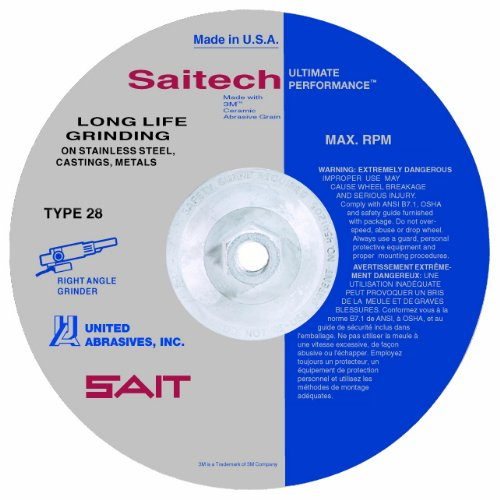 United Abrasives-SAIT 21084 7 by 1/4 by 7/8 ECH Type 28 Grinding Wheel, 25-Pack