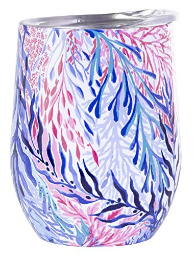 Lilly Pulitzer Tumbler - Lilly Pulitzer Stainless Steel Wine Glass with Lid, Holds 12 Ounces, Kaleidoscope Coral