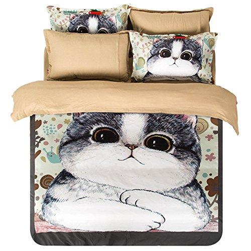 KTLRR 4 Pieces Twin Queen King Size Bedding Set,Cartoon Fat Cat Pattern Sheet Pillow Shams Duver Cover Set,Kids Girls Boys Bedding (Queen 4PCS, fat cat)