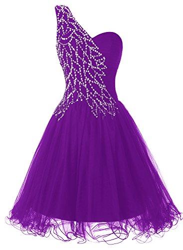 ALAGIRLS One Shoulder Short Prom Dress Tulle Sequins Homecoming Dress DarkPurple2