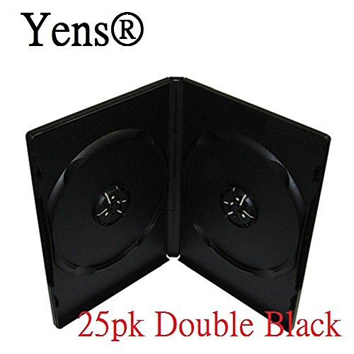 Yens Standard DVD Cases & Outter Clear Sleeve Premium Grades, Double, Black, 25 Piece ()