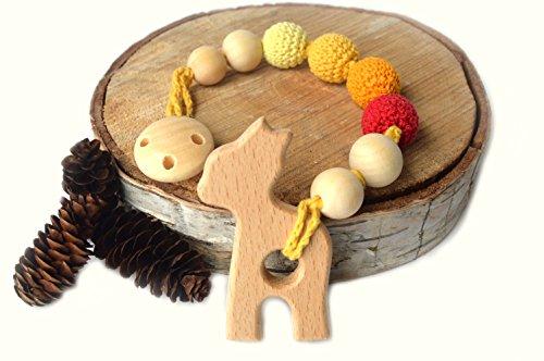 Mali Wear Natural Wood Teething String clip (orange red - Wood You Wear