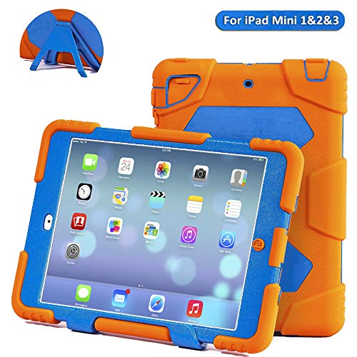 ACEGUARDER Apple Ipad Mini 2 Case Waterproof Rainproof Shockproof Kids Proof Case for Ipad Mini 2 (Gifts Outdoor Carabiner + Whistle + Handwritten Touch Pen) (YELLOW/LIGHT BLUE) ()