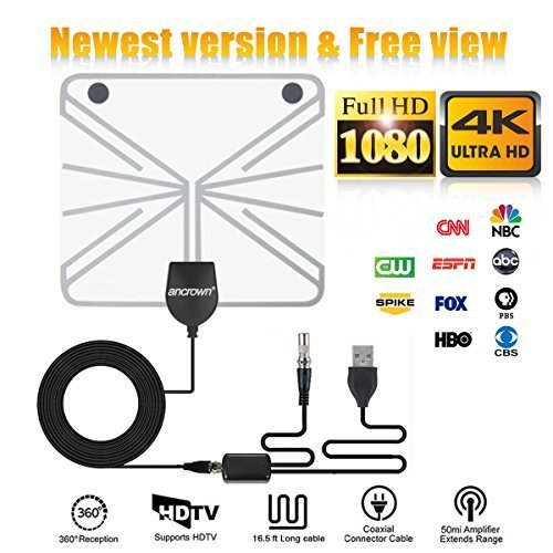 [Latest 2019] Amplified HD Digital TV Antenna Long 50  120 Miles Range  Support Indoor 1080P 4K Digital Antenna Detachable Amplifier Signal Booster ANcrown 18 FT High Performance Coaxial Cable