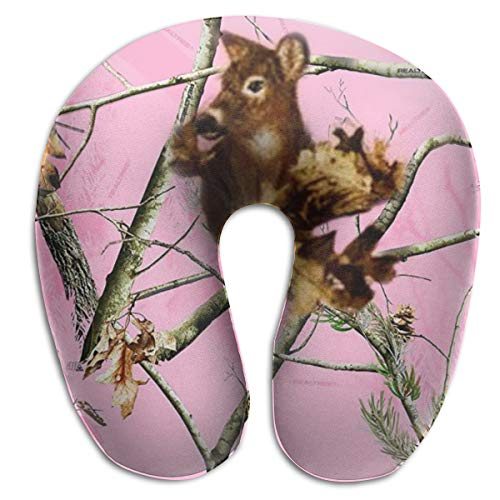 Squirrel On Pink Camo Branch Airplanes Travel Neck Pillow Comfort and Convenience Sleeping Neck Pain U Shaped Pillow for Outdoors Car Office Home Travel Pillow Back Cushion Nap Pillow