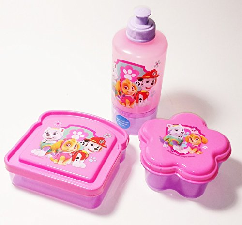 Paw Patrol Pink and Purple Sandwich Container, Water Bottle and Snack Container Lunch Box 3 Piece Set