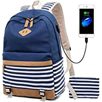 Canvas Classic School College Laptop USB Backpack