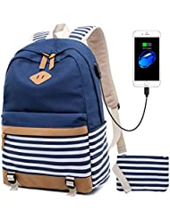 Girls Canvas School Backpack Bookbag College Laptop USB Backpack Casual Travel Daypack for Teen Girls and Women