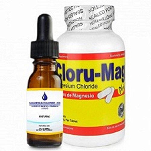 Magnesium Chloride Bundle of 2: Cloru-Mag Plus tablets and Líquid form (Cloruro de Magnesio, paquete de 2 productos)