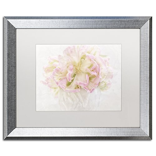 Pink Parrot Tulips Bouquet By Cora Niele Artwork In White Matte with Silver Frame, 16