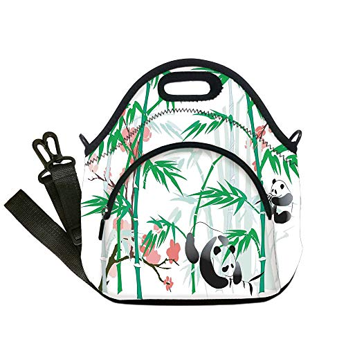 - Insulated Lunch Bag,Neoprene Lunch Tote Bags,Bamboo,Giant Woody Grass Bamboos and Panda Bear in Chinese Tropics Artsy Print,Pink Green White Black,for Adults and children