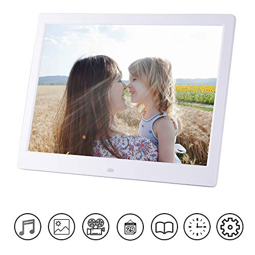 (VIVIJIA 13 inch Digital Photo Frame, HD LED Image Video Frame with Motion Sensor, MP3/calendar/Watch/ebook with Remote Control Support USB SD Card, Gift Selection,White)
