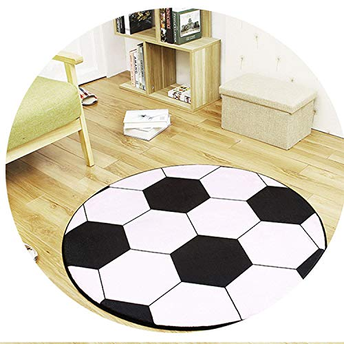 New Ball Round Carpet Computer Chair Pad Football Basketball Living Room Mat Children Bedroom Rugs,No 1,Diameter 60Cm