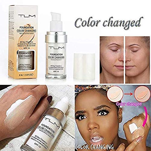 TLM Flawless Colour Changing Warm Skin Tone Foundation Makeup Base Nude Face Moisturizing Liquid Cover Concealer SPF15 - (1.01 fl oz)