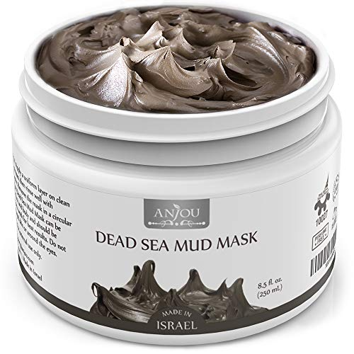 Anjou Dead Sea Mud Mask, Made in Israel, Deep Pore Cleansing and Detoxifying for Face and Body, 100 Natural Mineral-Rich Mask, 8 oz / 250 ml (Israel Food)