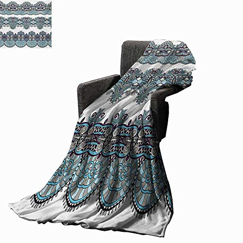 Anyangeight Paisley Weave Pattern Extra Long Blanket Traditional Ethnic Floral Bordered Triplet Design with Stripes Dots and Circles,Super Soft and Comfortable,Suitable for Sofas,Chairs,beds