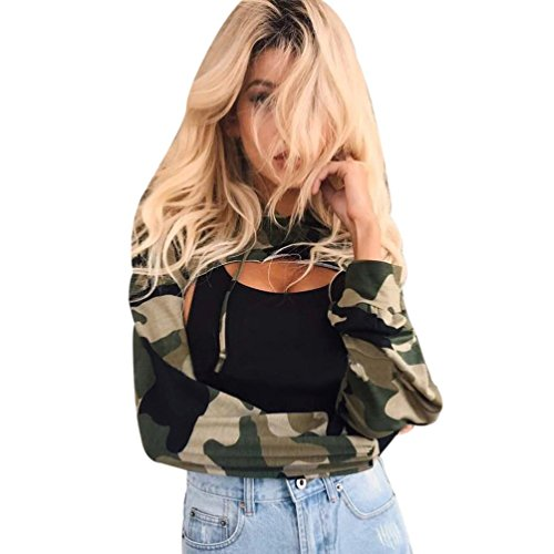 Teresamoon Clearance Sale ! Hollow Out Tops Women Print T-Shirt Camouflage Hooded Blouse (Green, (Camouflage Ruffle)
